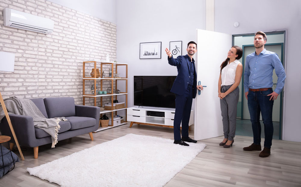 Happy Realtor Showing New Modern House To Customers